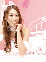 Reika Miki Asian in pink fluffy lingerie is always smiling queen