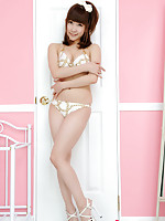 Chihiro Akiha Asian on heels and in lingerie feels good in pink